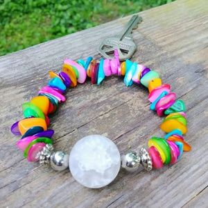 One of a kind colorful stretchy keychain bracelet